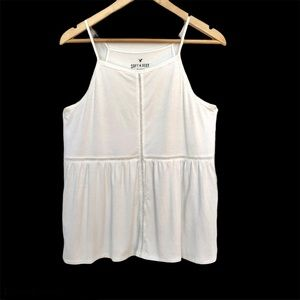 AEO Tank top. White with lace cutout details